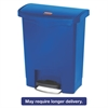 Slim Jim Resin Step-On Container, Front Step Style, 8 gal, Blue