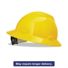 MSA V-Gard Full-Brim Hard Hats, Ratchet Suspension, Size 6 1/2 - 8, Yellow