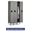 Tennsco Single Tier Locker with Legs, Three Units, 36w x 18d x 78h, Medium Gray