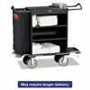 Cruise Housekeeping Cart, Black, Steel, 19 x 50 x 55, 3-Shelf