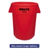 Rubbermaid Commercial Brute Vented Trash Receptacle, Round, 44 gal, Red, 4/Carton
