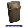 Rubbermaid Commercial Slim Jim Wall-Mounted Container, Rectangular, Plastic, 15 gal, Brown
