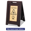 Rubbermaid Commercial Executive 2-Sided Multi-Lingual Caution Sign, Brown/Brass, 15 x 23 1/2