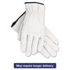Memphis Grain Goatskin Driver Gloves, White, Large, 12 Pairs