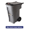 Brute Rollout Heavy-Duty Waste Container, Square, Polyethylene, 65gal, Gray