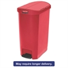 Slim Jim Resin Step-On Container, End Step Style, 13 gal, Red
