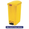 Rubbermaid Commercial Slim Jim Resin Step-On Container, End Step Style, 13 gal, Yellow