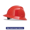 MSA V-Gard Full-Brim Hard Hats, Ratchet Suspension, Size 6 1/2 - 8, Red