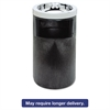 Rubbermaid Commercial Smoking Urn w/Ashtray and Metal Liner, 19.5H x 12.5 dia, Black