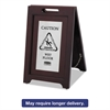 Rubbermaid Commercial Executive 2-Sided Multi-Lingual Caution Sign, Brown/Stainless Steel,15 x 23 1/2