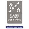 Headline Sign ADA Sign, 6 x 9, In Case of Fire Use Stairs, Gray