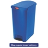 Rubbermaid Commercial Slim Jim Resin Step-On Container, End Step Style, 24 gal, Blue