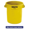 Rubbermaid Commercial Round Brute Container, Plastic, 10 gal, Yellow, 6/Carton