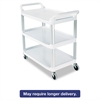 Open Sided Utility Cart, Three-Shelf, 40-5/8w x 20d x 37-13/16h, Off-White