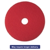 "3M Red Buffer Floor Pads 5100, Low-Speed, 14"", 5/Carton"