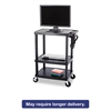 Safco Three-Shelf Height-Adjustable Cart, 27-3/4w x 18-1/2d x 42h, Black