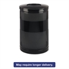 Classics Perforated Open Top Receptacle, Round, Steel, 51gal, Black
