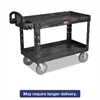 Heavy-Duty Utility Cart, Two-Shelf, 26w x 55d x 33 1/4h, Black