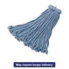 Premium Bolt-On Cut-End Blended Mop, 20 oz, Blue, 12/Carton