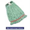 Web Foot Wet Mop Heads, Shrinkless, Cotton/Synthetic, Green, Medium