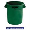 Rubbermaid Commercial Round Brute Container, Plastic, 10 gal, Dark Green, 6/Carton