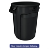 Rubbermaid Commercial Round Brute Container, Executive Series, Plastic, 32 gal, Black, 6/Carton