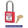 "Master Lock Government Safety Lockout Padlock, Zenex, 1 1/2"", Red, 1 Key, 6/Box"