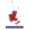 Unger Side-Press Restroom Mop Dual Bucket FloorPack, 8gal, Plastic, Red