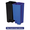 Rubbermaid Commercial Step-On Rigid Dual Liner For Stainless End Step, Plastic, 8 gal, Black/Blue