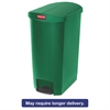 Rubbermaid Commercial Slim Jim Resin Step-On Container, End Step Style, 18 gal, Green