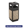 Safco Canmeleon Ash/Trash Receptacle, Square, Aggregate/Polyethylene, 15gal, Black