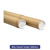 "Adjustable Round Mailing Tubes, 30l - 60l x 3 1/8"" dia., Brown Kraft, 12/Pack"