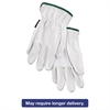 Memphis Grain Goatskin Driver Gloves, White, Medium, 12 Pairs