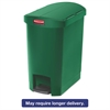 Rubbermaid Commercial Slim Jim Resin Step-On Container, End Step Style, 8 gal, Green