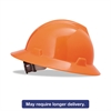 MSA V-Gard Full-Brim Hard Hats, Ratchet Suspension, Size 6 1/2 - 8, High-Viz Orange