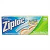 Ziploc Resealable Sandwich Bags, 6 1/2 x 5 7/8, 1.2 mil, Clear, 40/Box, 12 BX/CT