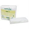 Cascades North River Dinner Napkins, 2-Ply, 3 3/4 x 8 1/2, White, 100/Pk, 3000/Carton