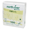 Cascades North River Dinner Napkins, 2-Ply, 3 3/4 x 8 1/2, White, 100/Pack, 3000/Carton