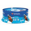 Verbatim CD-R, 700MB, 52X, White Inkjet Printable, Hub Printable, 25/PK Branded Spindle