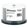 Verbatim MediDisc CD-R, 700MB, 52X, White Inkjet with Branded Hub, 50/PK Spindle