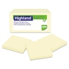 Highland Recycled Self Stick Notes, 3 x 3, Yellow, 100 Sheets/Pad, 12 Pads/Pack