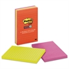 Post-it Pads in Marrakesh Colors, Lined, 4 x 6, 90-Sheet, 3/Pack