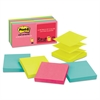 Post-it Original Pop-up Refill, 3 x 3, Assorted Cape Town Colors, 100-Sheet, 12/Pack