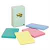 Post-it Original Pads in Marseille Colors, Lined, 4 x 6, 100-Sheet, 5/Pack