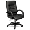 basyx VL690 Series Executive High-Back Leather Chair, Black Leather