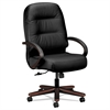 HON 2190 Pillow-Soft Wood Series Executive High-Back Chair, Mahogany/Black Leather