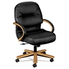 2190 Pillow-Soft Wood Series Mid-Back Chair, Harvest/Black Leather