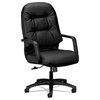 2090 Pillow-Soft Series Executive Leather High-Back Swivel/Tilt Chair, Black