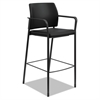 HON Accommodate™ Series Café Stool with Fixed Arms, Black Vinyl