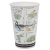 NatureHouse Compostable Live-Green Art Hot Cups, 16oz, White, 50/Pack